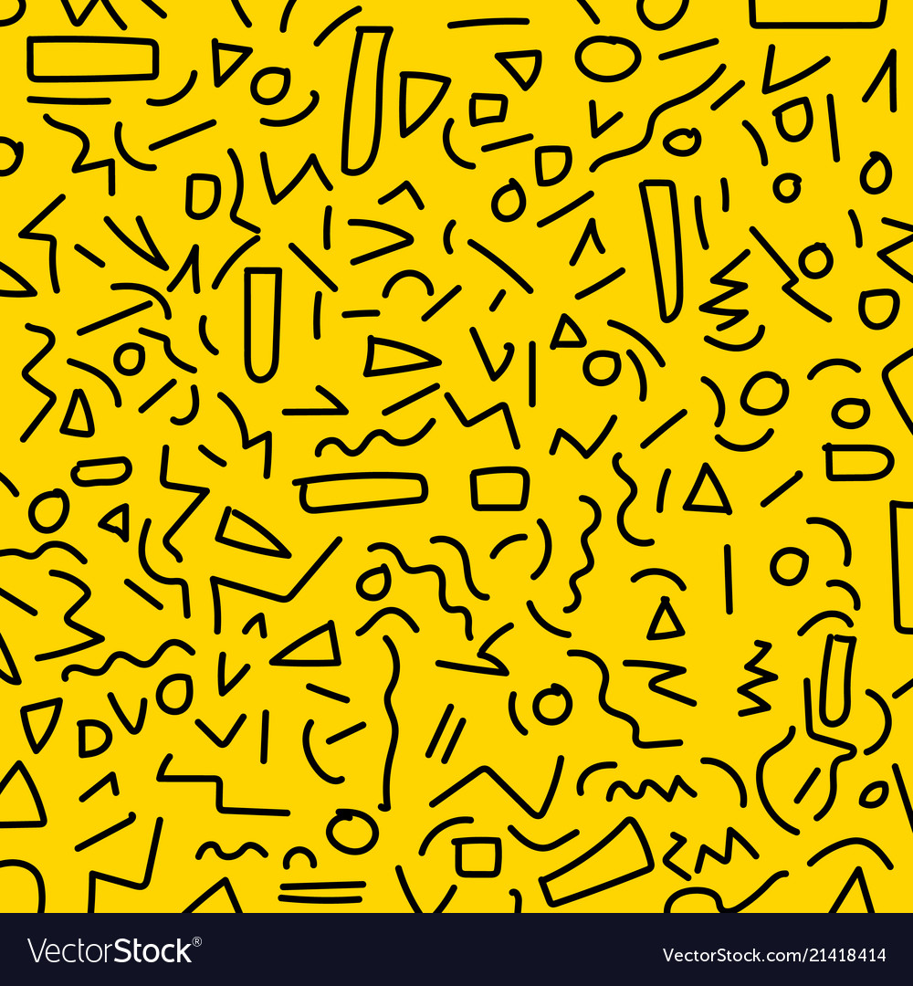 Hand draw black geometric memphis pattern