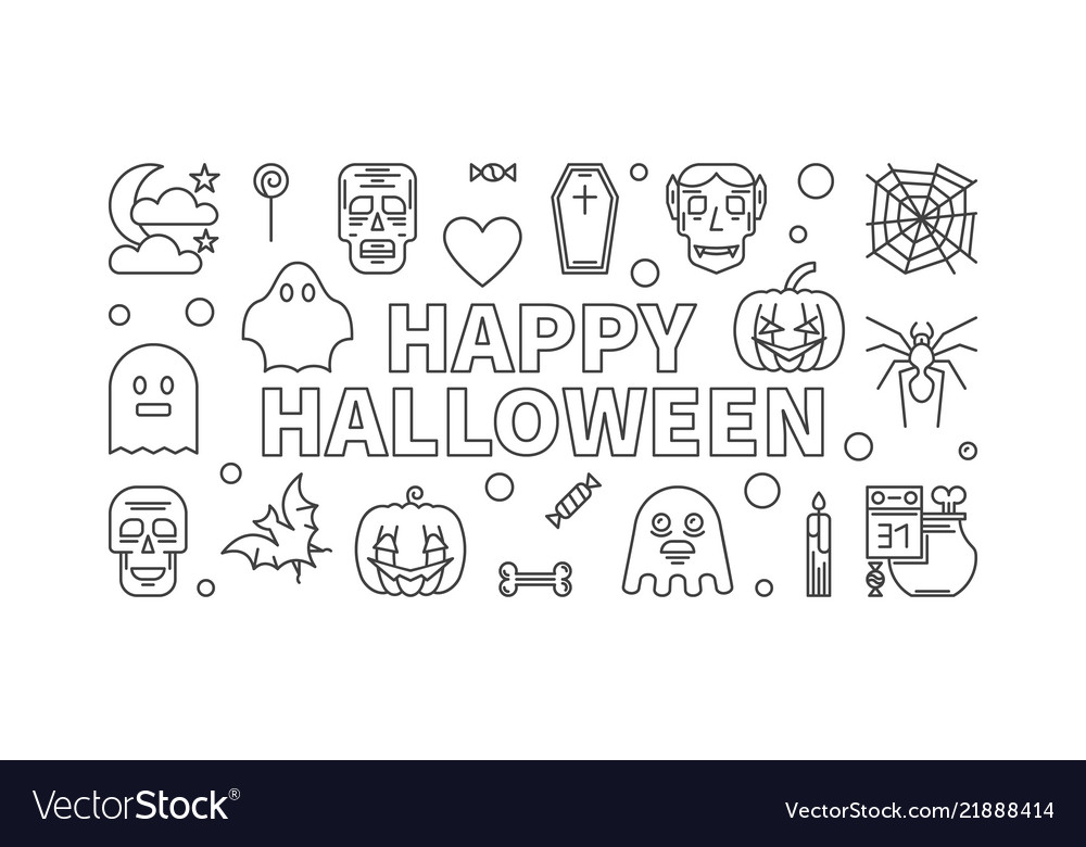 Happy halloween line horizontal banner or