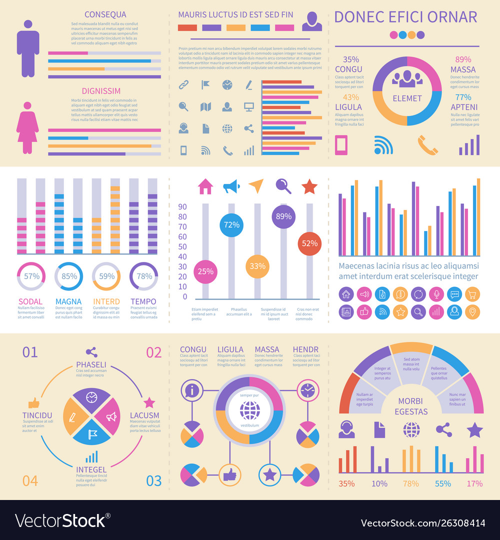 Infographic banners ui interface information