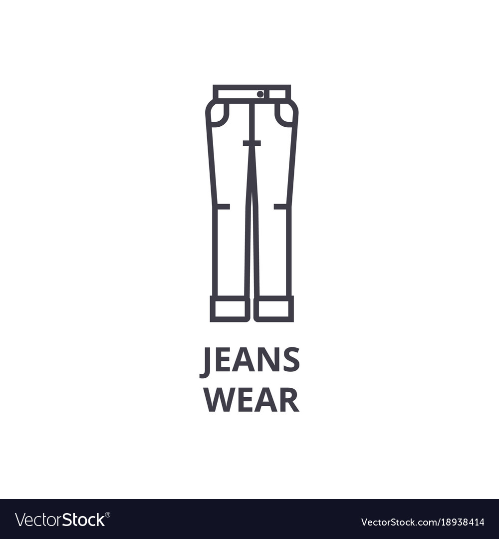 Jeans wear line icon outline sign linear symbol