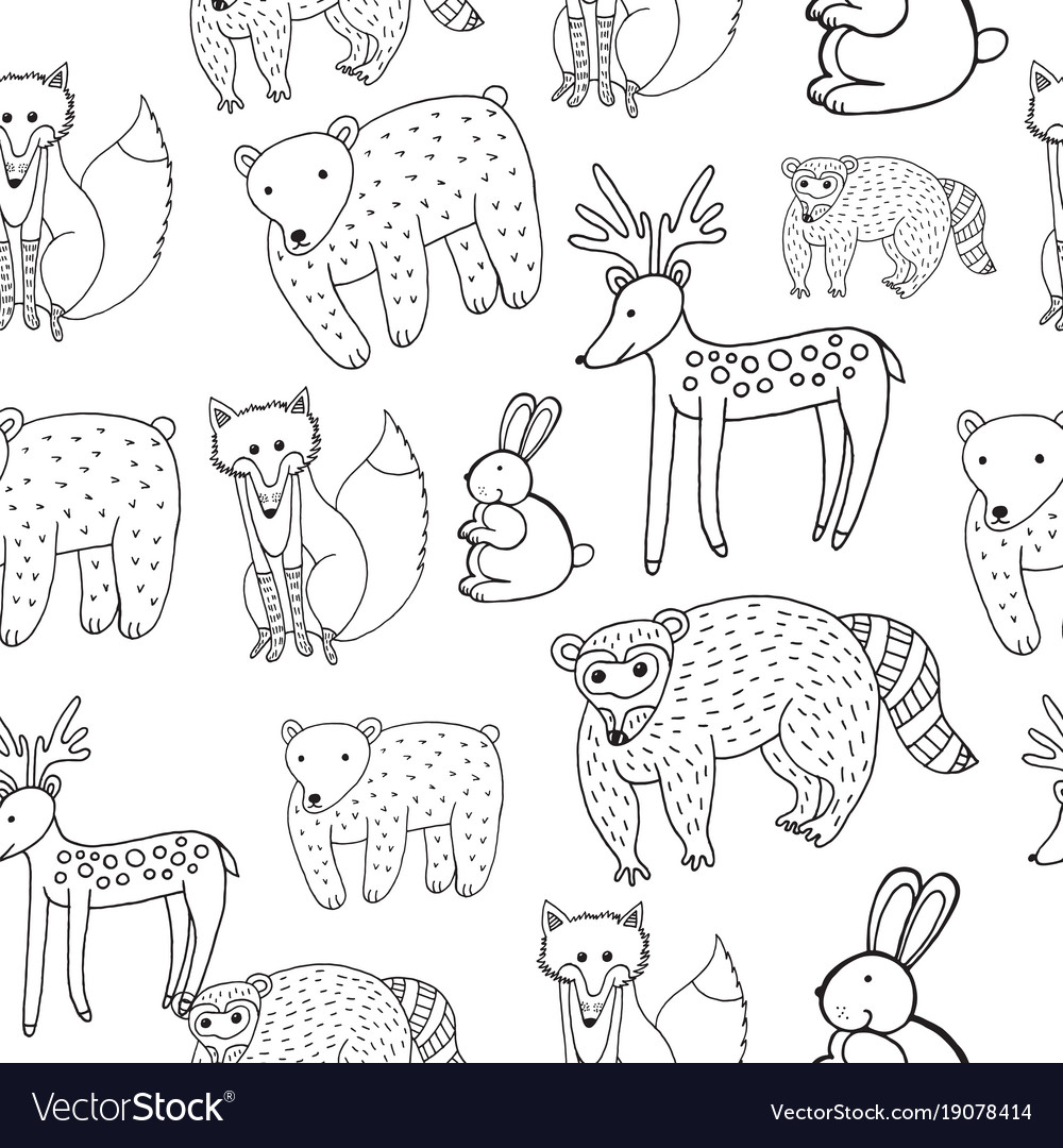 Kids drawing of animals seamless pattern doodle vector image