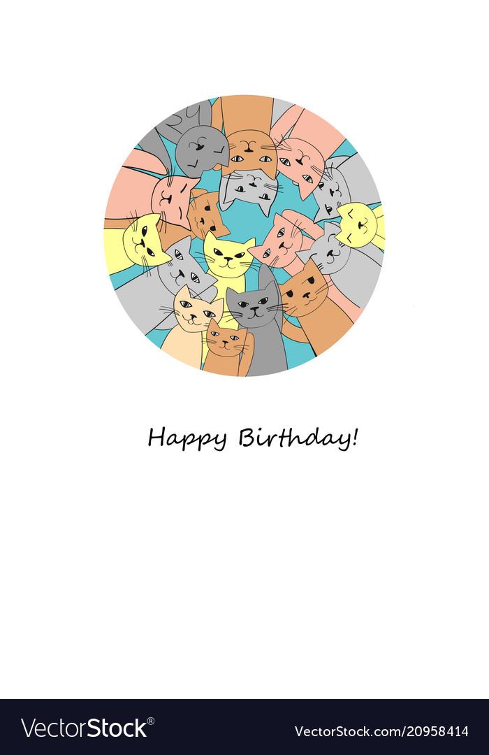 Many funny cats happy birthday card
