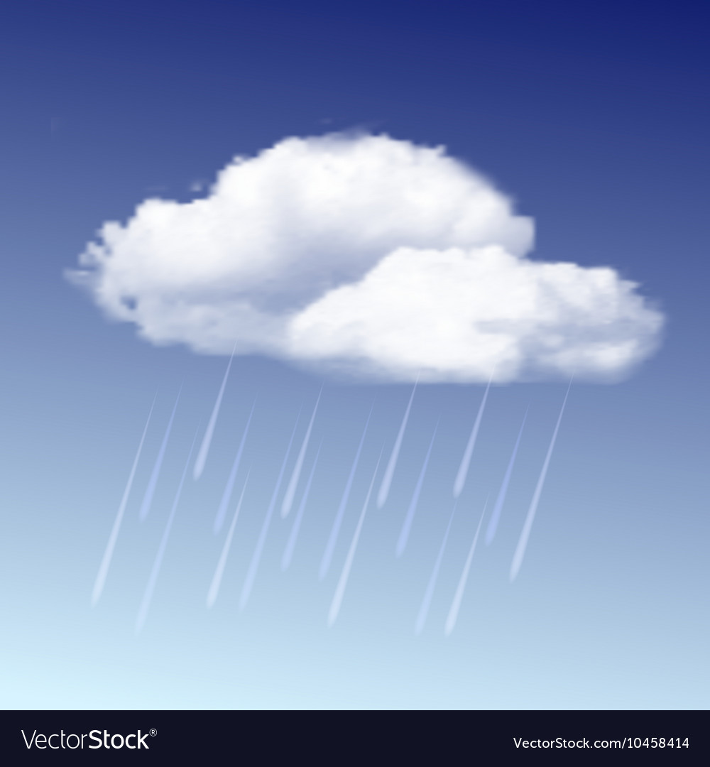 Raincloud and rain in the blue sky