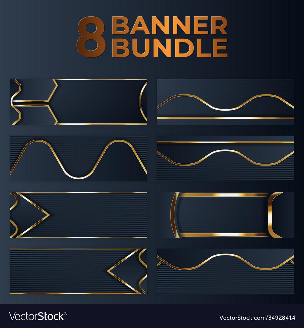 Set gold banner design with minimalist modern