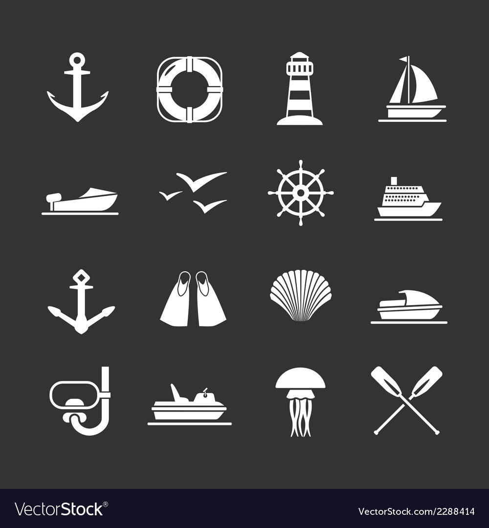 Set icons of sea beach and travel