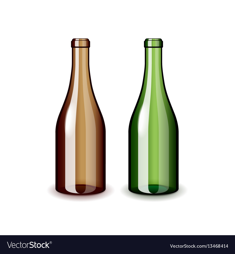 Two empty wine bottles isolated on white