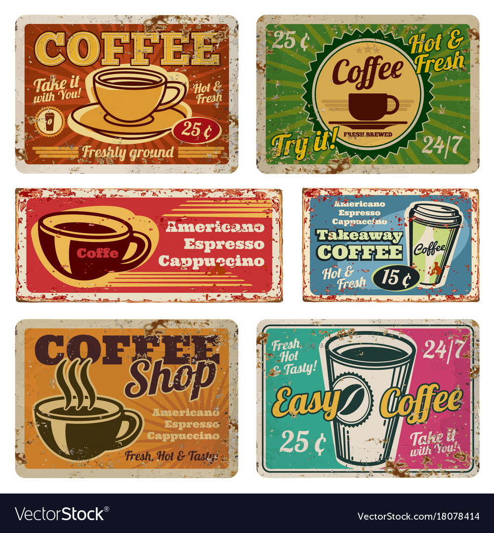 Vintage coffee shop and cafe metal signs in