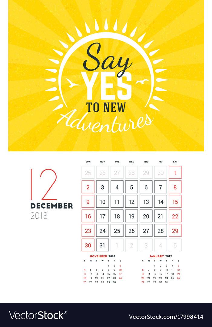 Wall Calendar Template For December 2018 Design Vector Image