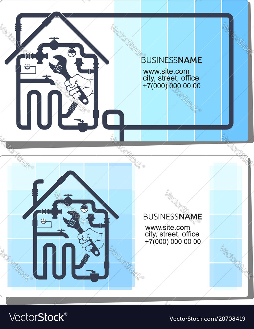 Business card concept plumbing and pipeline vector image colourmoves