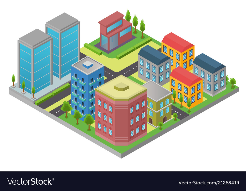 Design in isometry of city element with road and