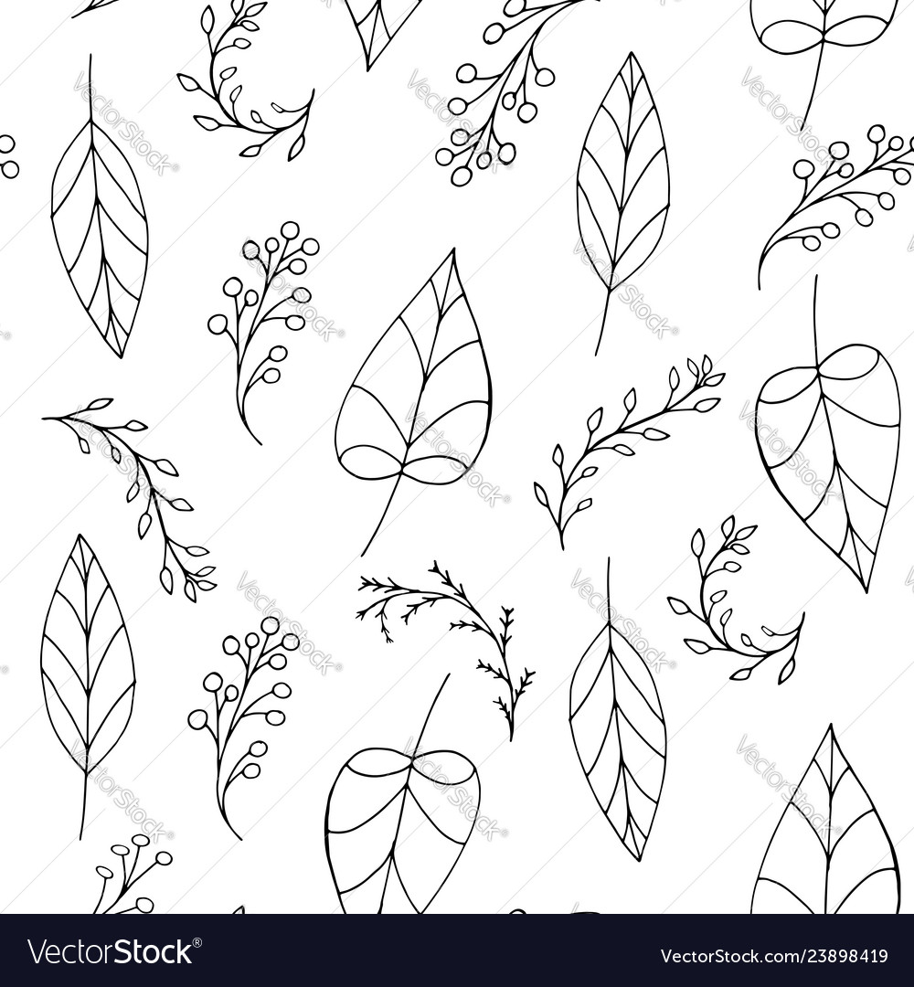 Doodle seamless pattern with leaves