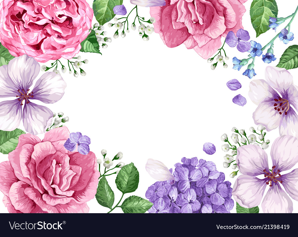 floral banner template flowers in watercolor vector image