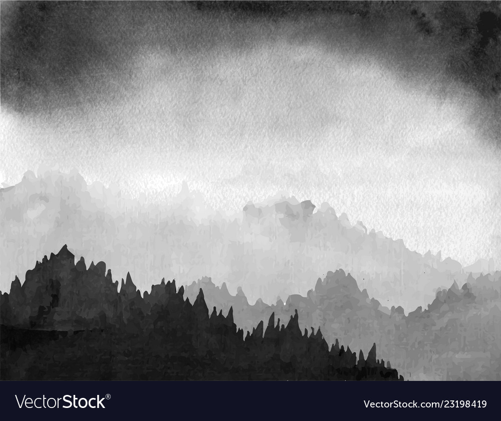 8395d2c05 Forest valley in fog and black clouds traditional Vector Image