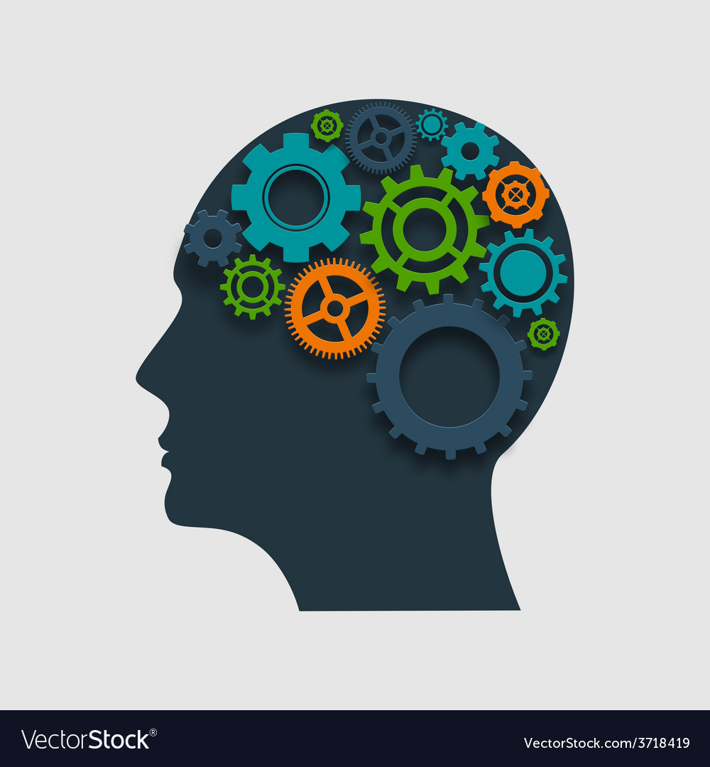 Head Profile With Gears vector image