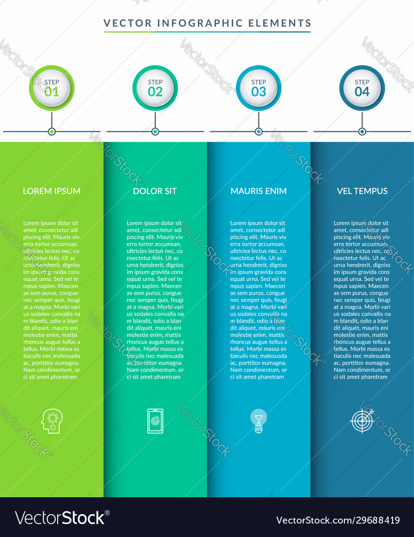 Infographic template with 4 tabs