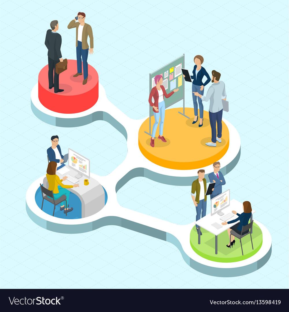 Isometric people communicating infographics