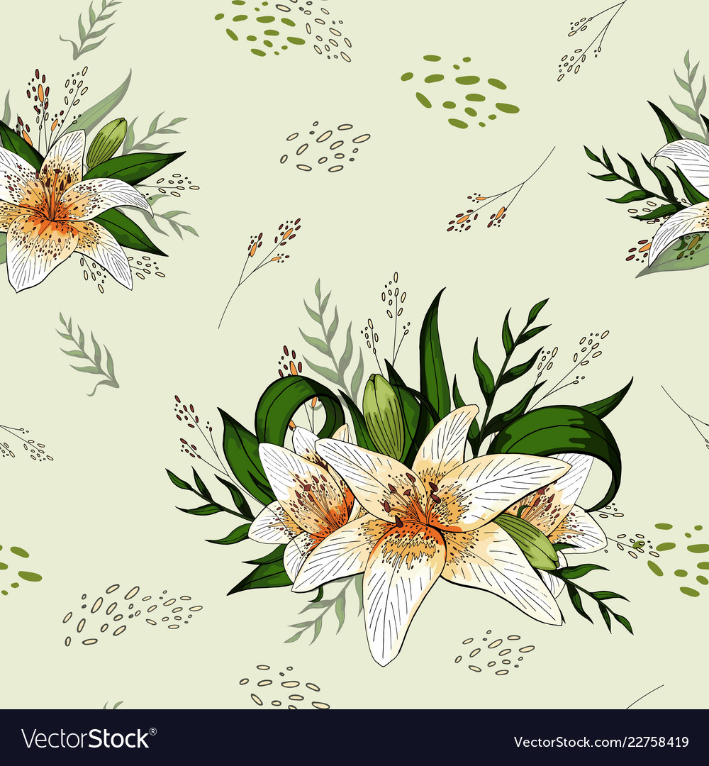 Lily bouquets and isolated elements seamless