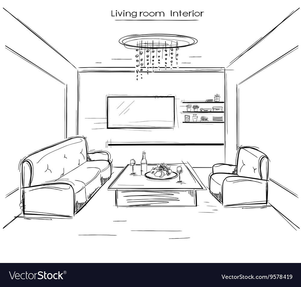 Living room interior black hand drawing Royalty Free Vector
