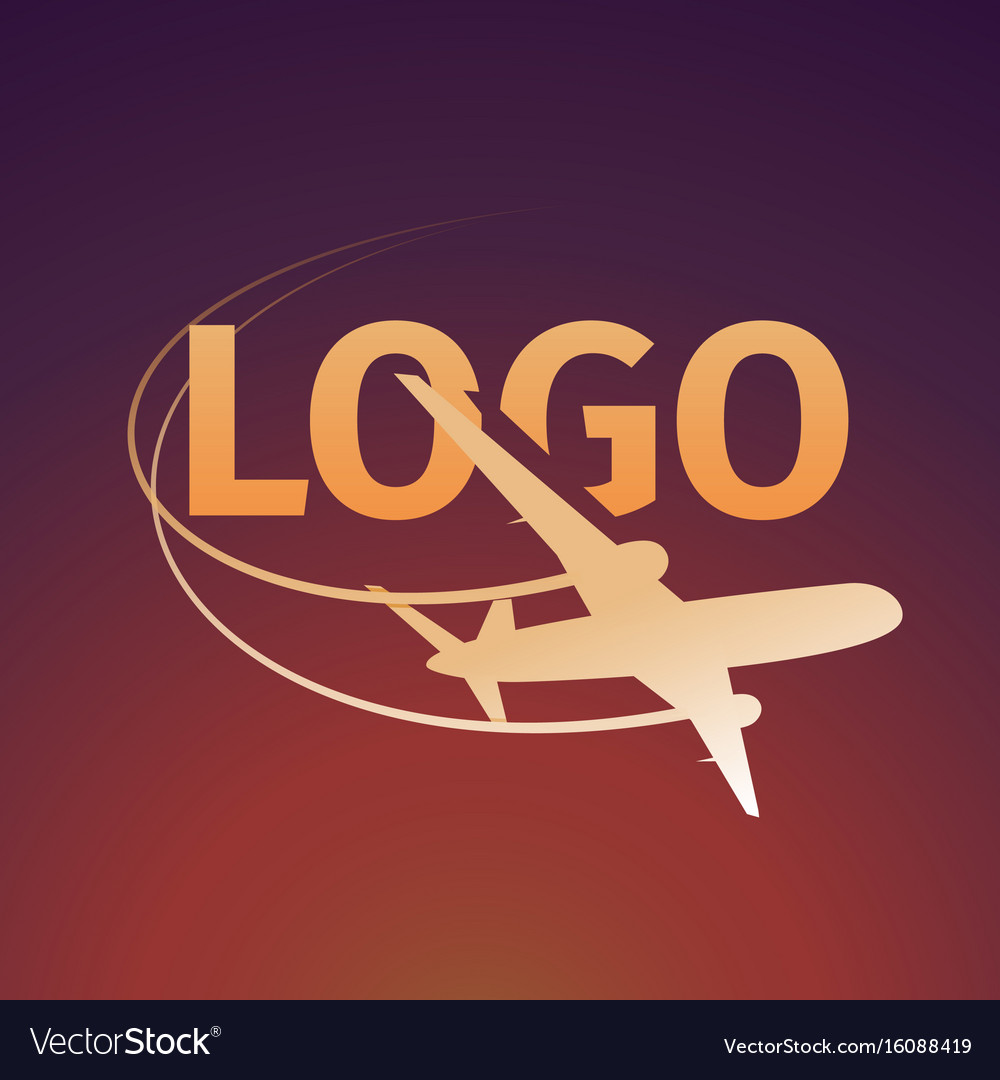 Logo of an airplane on sunset background