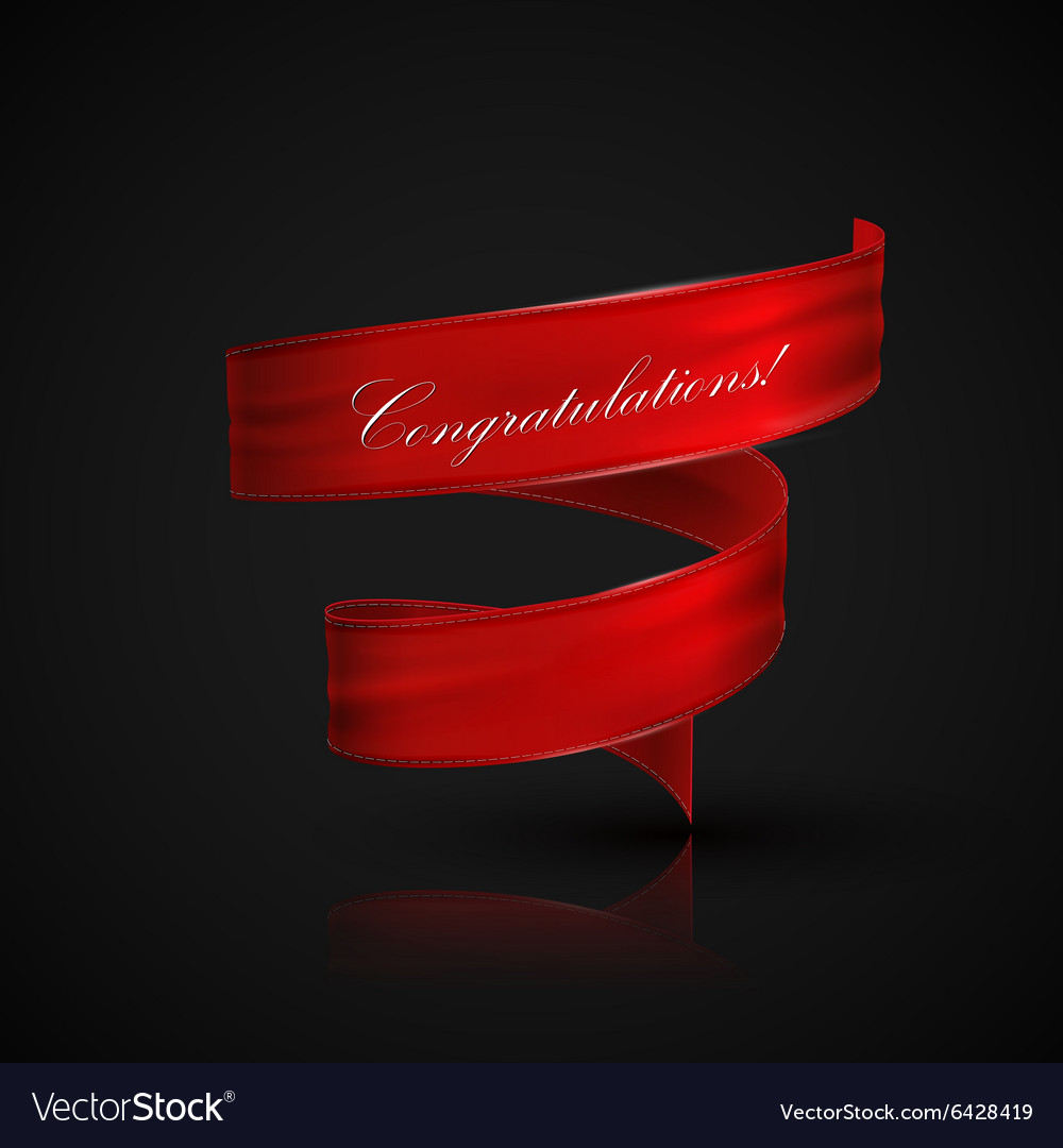 Red textile ribbon vector image