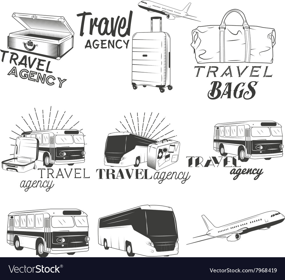 Set of travel and transportation labels in vector image