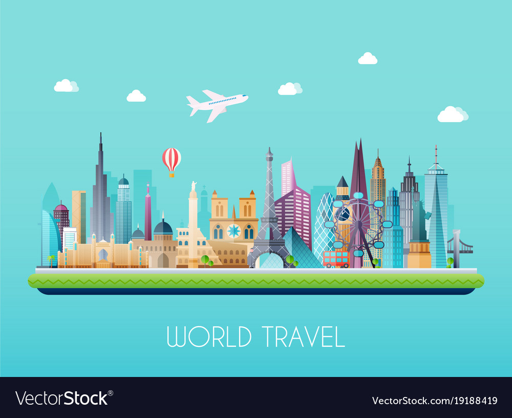 Travel on the world concept tourism flat