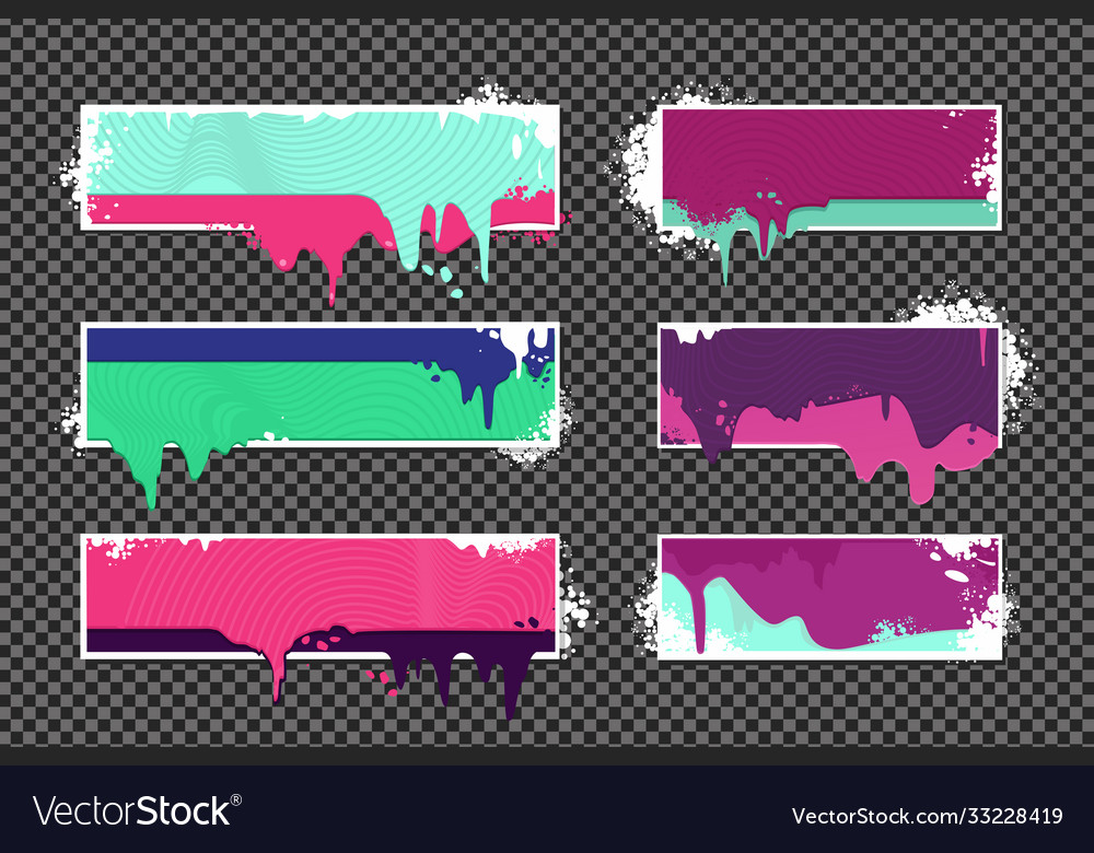 Web banners set with oil paint splashes graffiti
