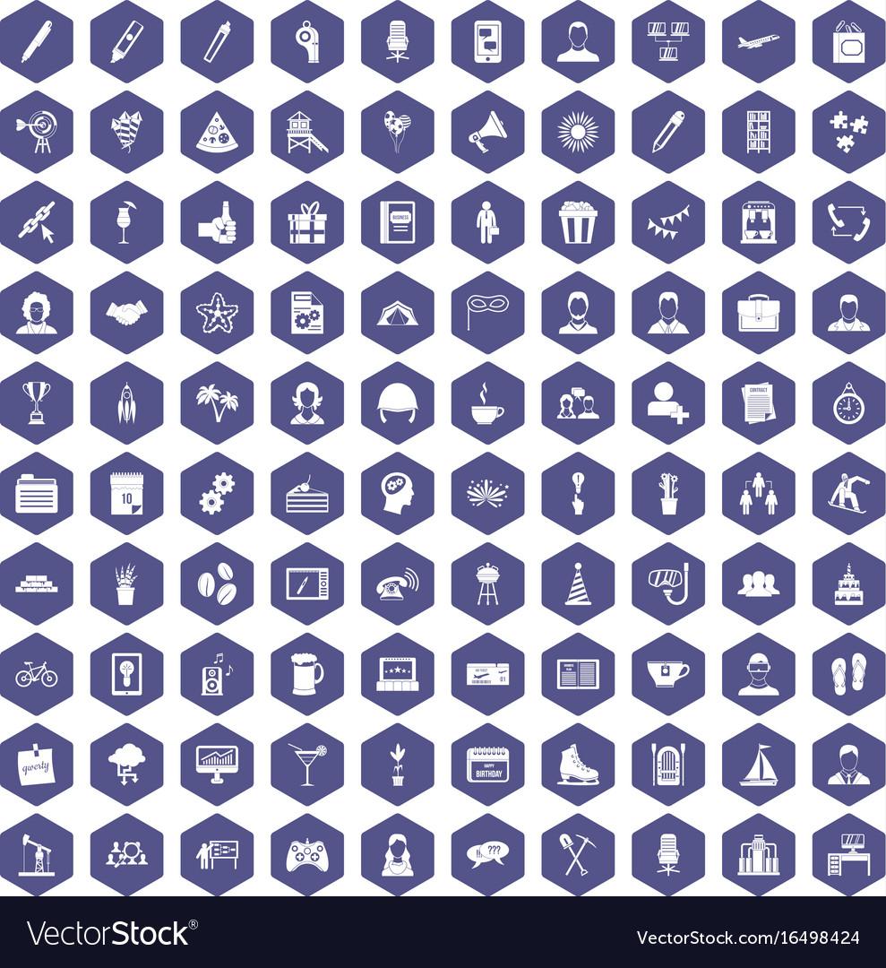 100 team building icons hexagon purple