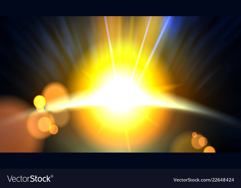 Abstract planet beautiful sun rays of light