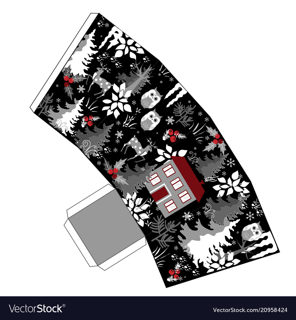 Awesome winter christmas popcorn box in doodle