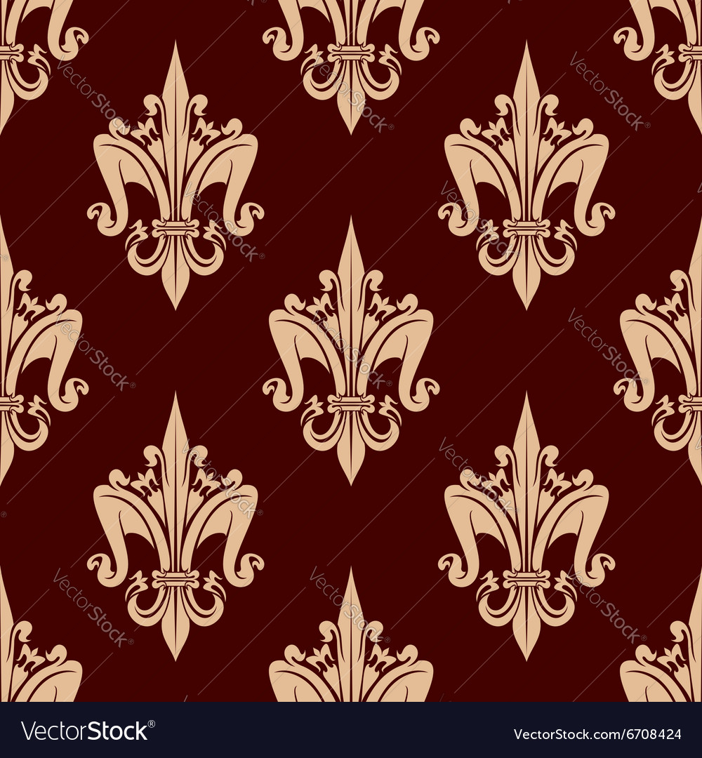 Beige and brown floral seamless pattern