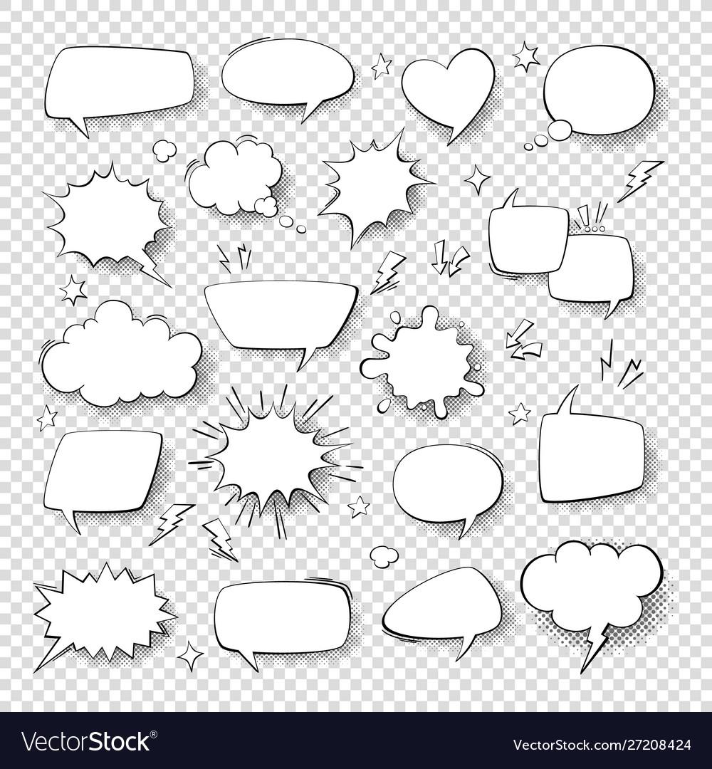 Cartoon thought bubble set comic empty talk and