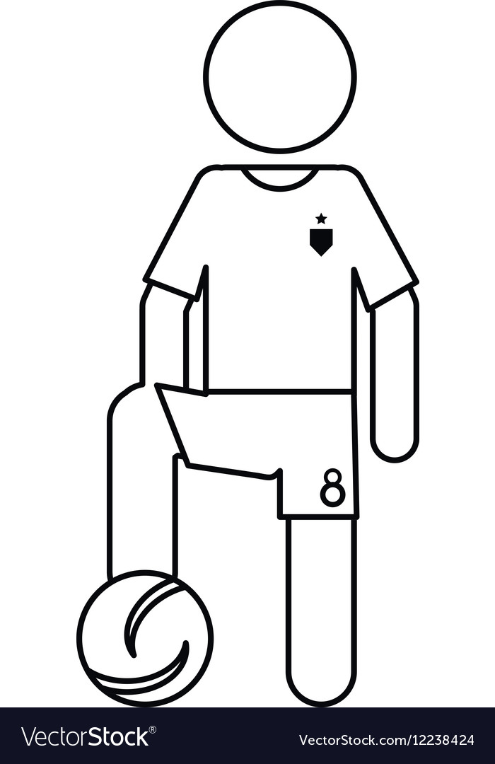 Character soccer player football uniform ouline vector image