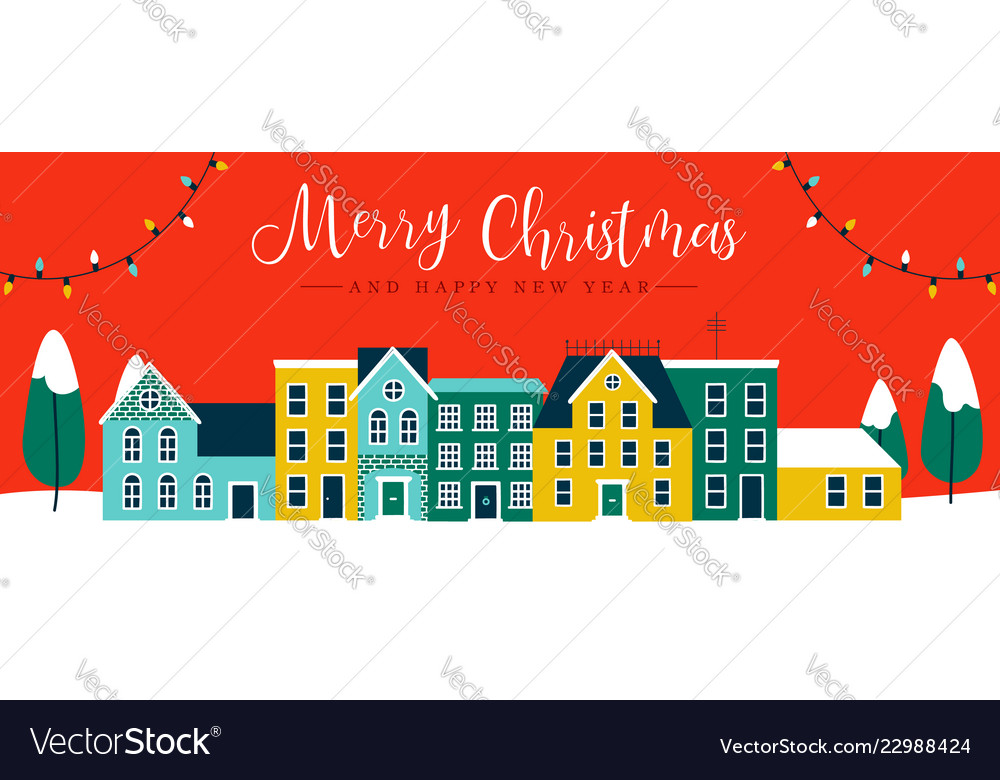 Christmas and new year red city houses banner