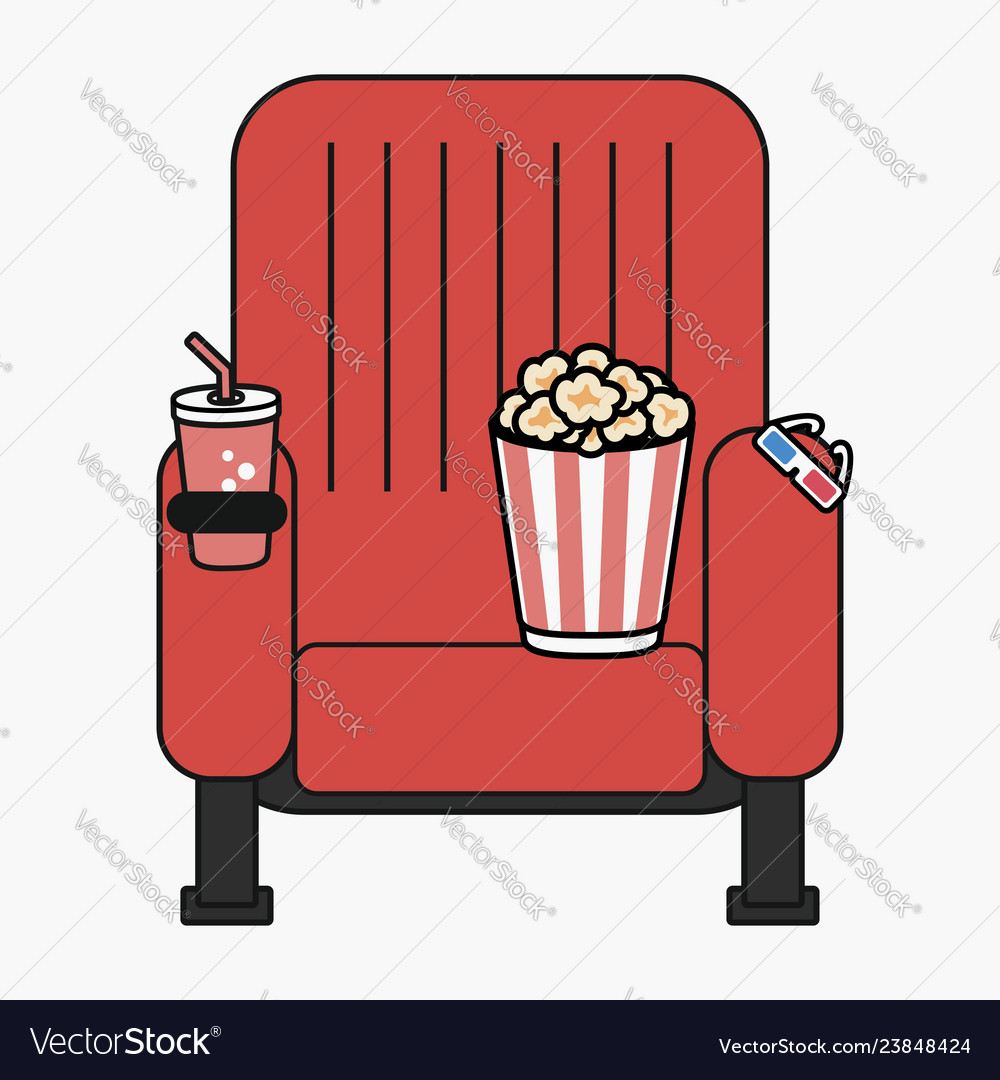 Cinema chair with popcorn cup of drink and 3d