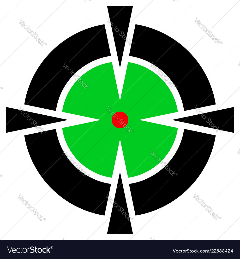 Cross hair target mark symbol with red dot