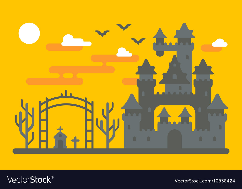 Flat design creepy castle
