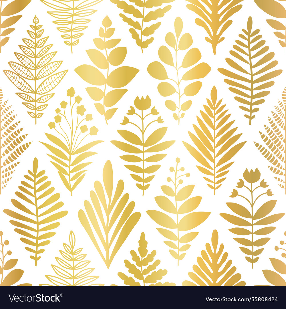 Flower rhombus damask abstract metallic gold foil