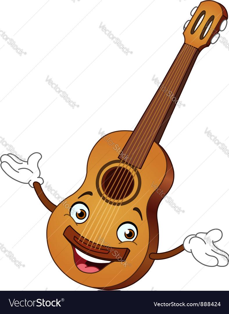 Guitar cartoon vector image