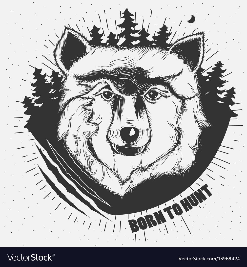 Hand-drawn a wolf head