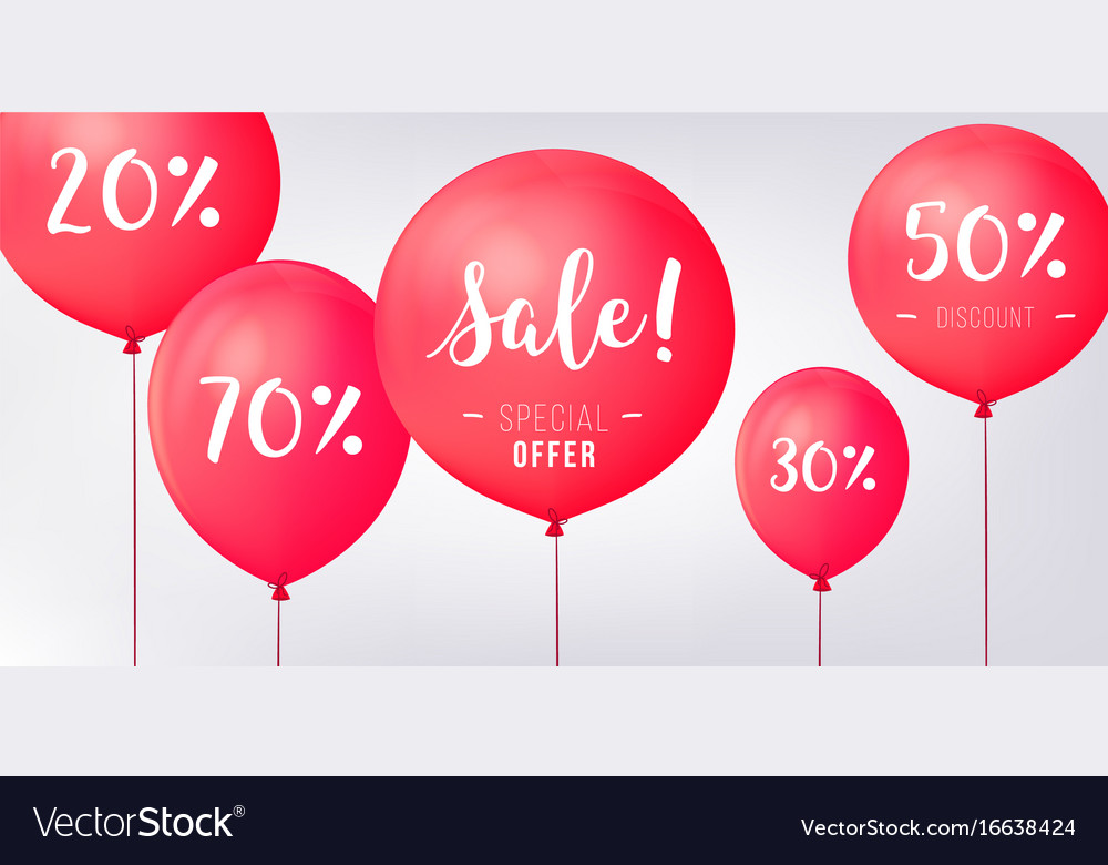 Red baloons discounts sale concept icons for shop