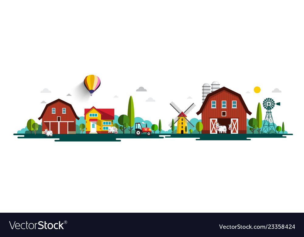 Rural landscape panorama with barn houses