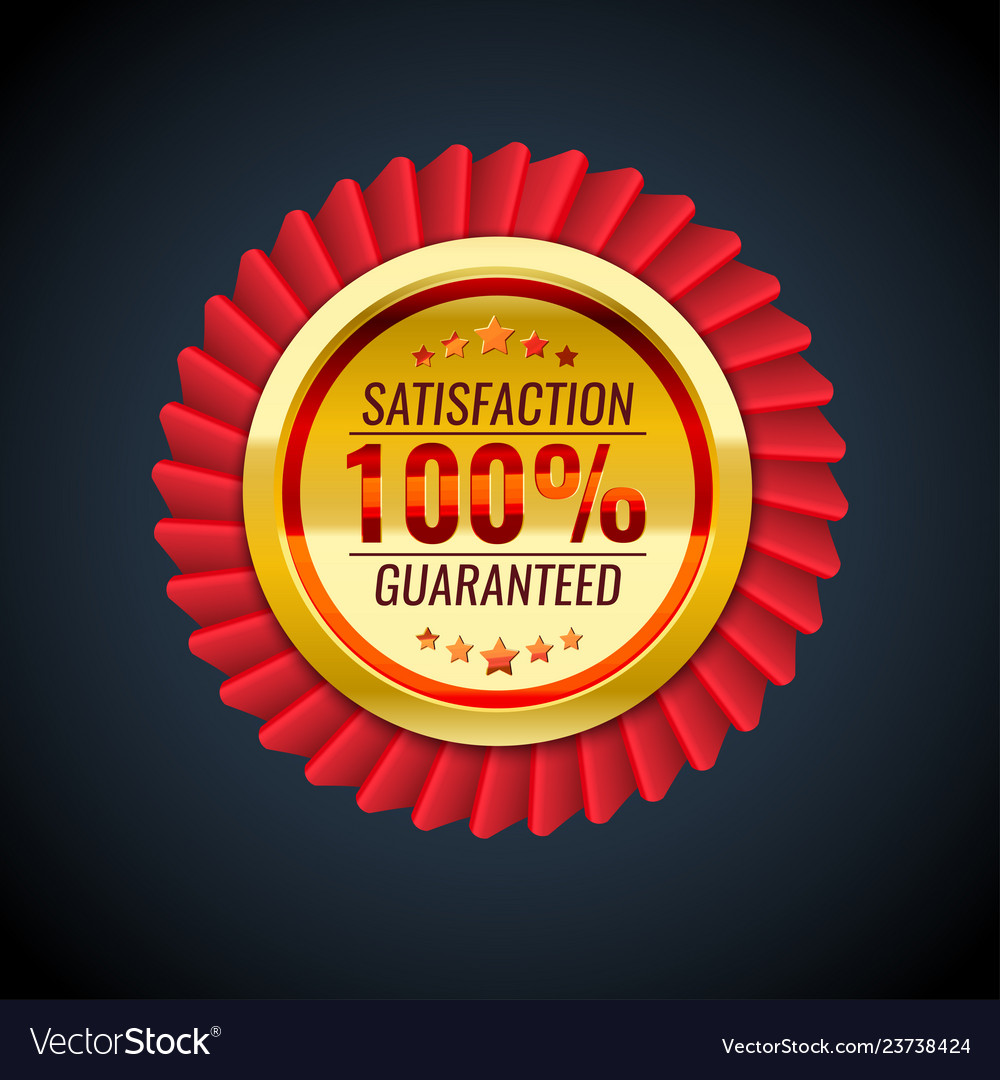 The golden and red badge with satisfaction