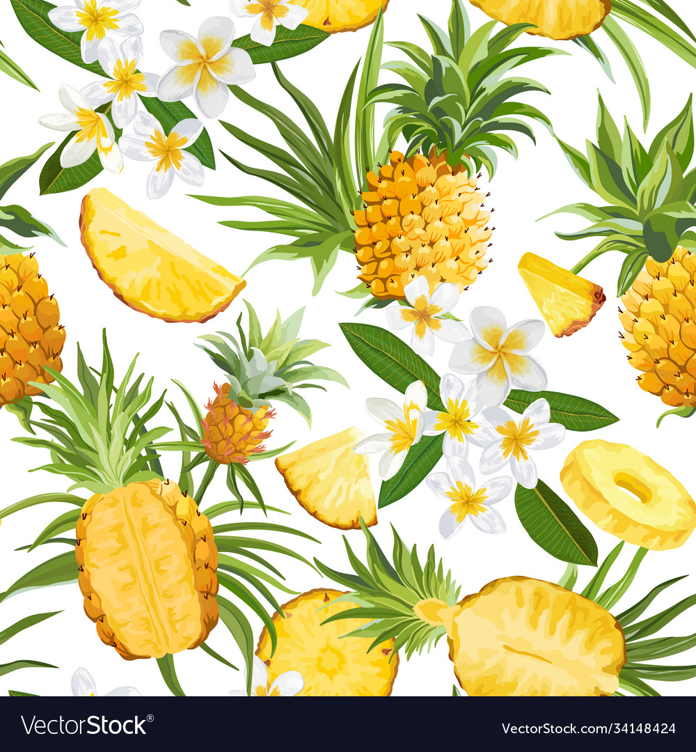 Tropical flowers and pineapple seamless pattern