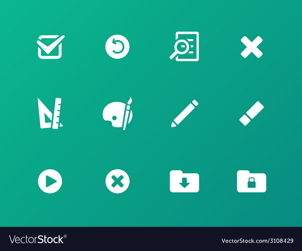 Application interface icons on green background