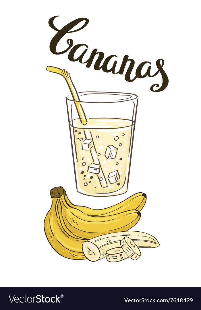 Banana milkshake in a glass glass with slices of