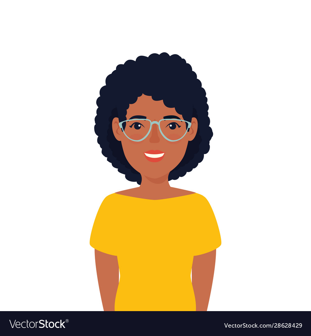 Beautiful Woman Afro With Glasses Avatar Character
