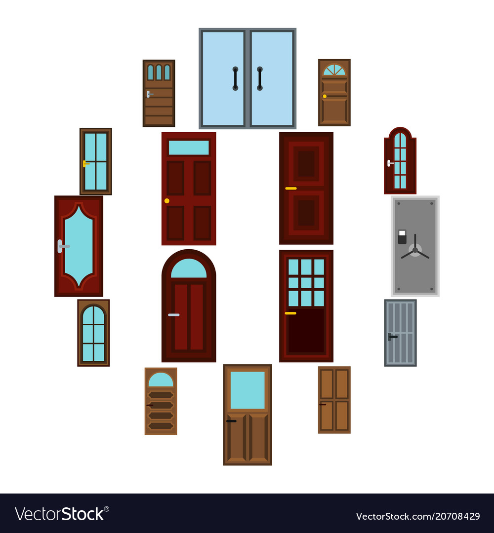 Door icons set flat style