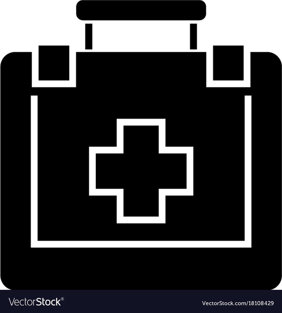 First aid icon black sign on