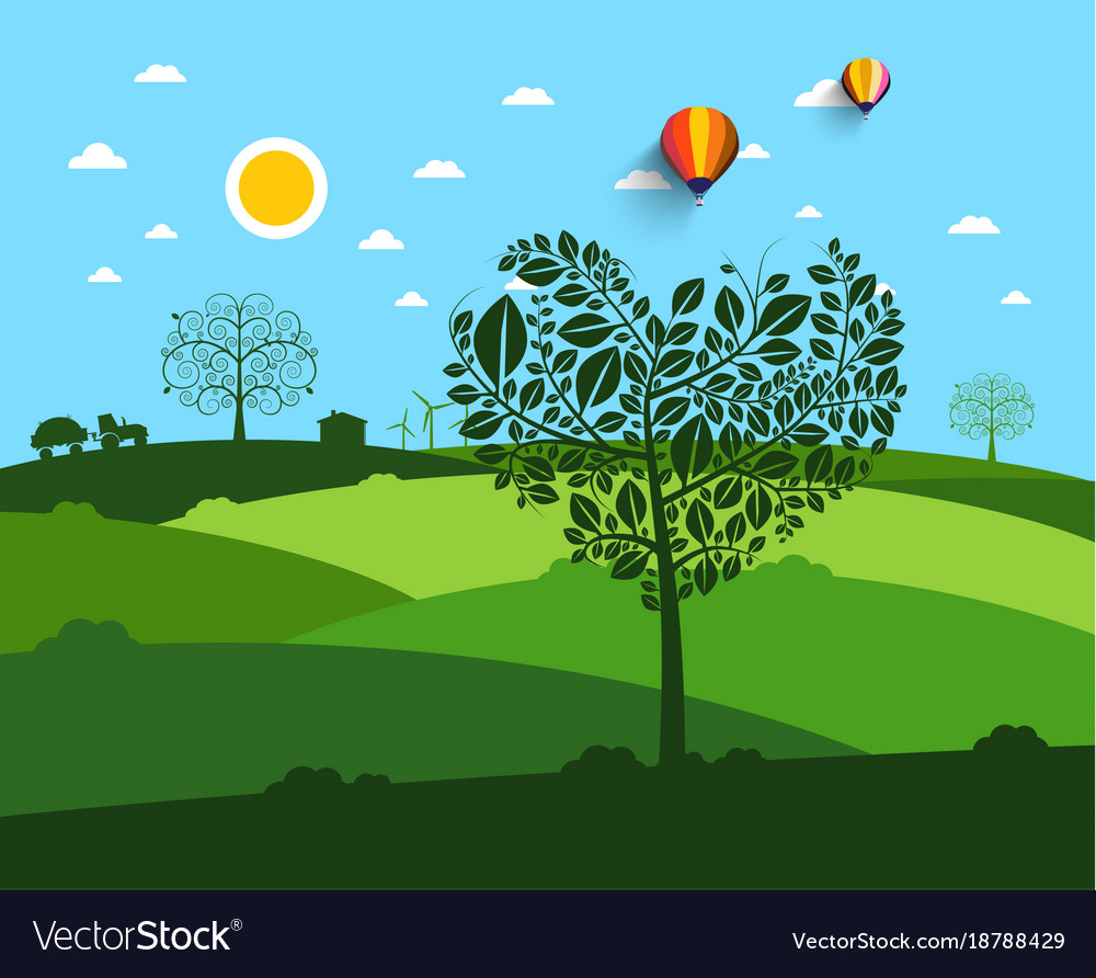 Flat landscape with heart shaped tree on